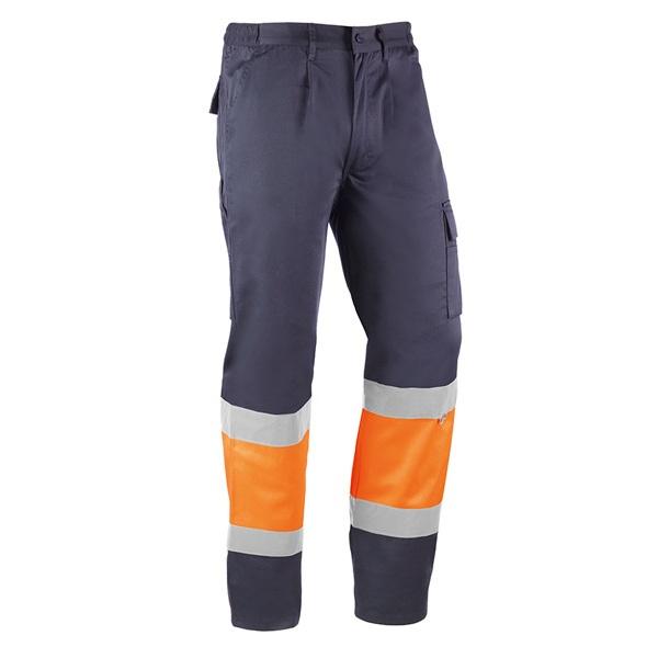 Pantalón multibolsillos Juba HV820 KARELIA Azul marino - Naranja flúor