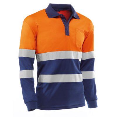 Polo manga larga Juba HV730BCMLAZUL EIRE Naranja Flúor - Azul marino